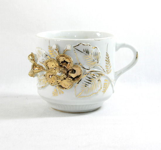 Vintage Gold Flowered Mustache Mug