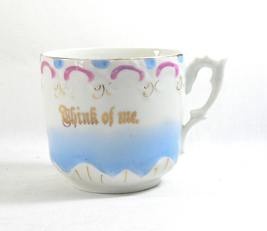 "Vintage ""Think of Me"" Mustache Mug. Made in Germany."