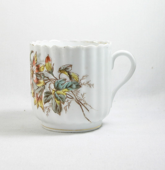 Vintage Flowered Mustache Mug with Marking on Bottom.
