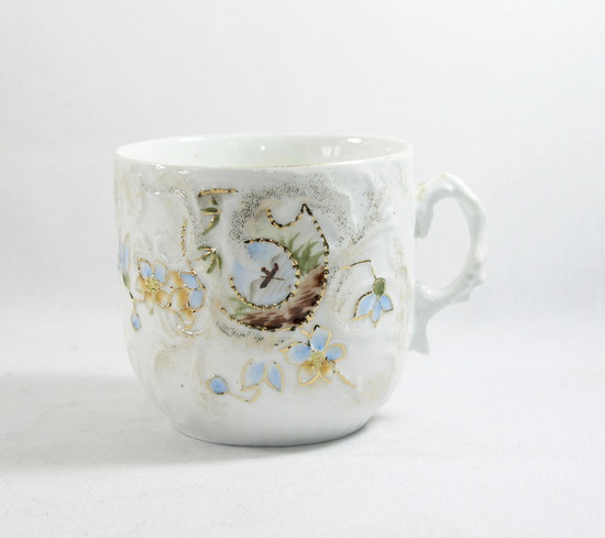 Vintage Mustache Mug with Picture on Side.