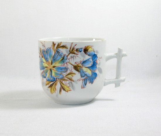 Vintage Blue Flowered Mustache Mug.