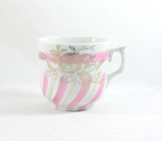 Vintage Pink and Gold Mustache Mug.