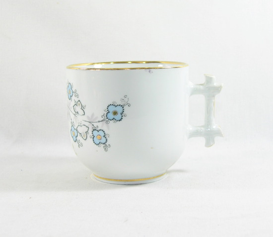 "Vintage Flowered ""Think of Me"" Mustache Mug. Manufactured in Germany."