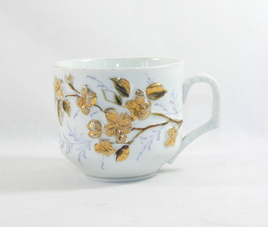 Vintage Gold Flowered Porcelain/Ceramic Mustache Mug