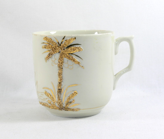 Vintage Gold Palm Tree and Sailboat Mustache Mug.