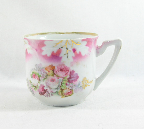 Vintage Flowered Mustache Mug. Mark on Bottom.