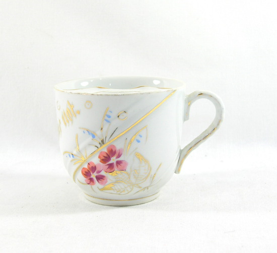 "Vintage Flowered ""Forget Me Not"" Mustache Mug."