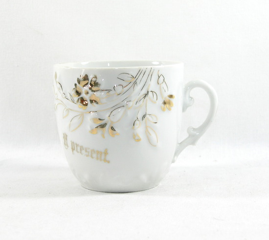 "Vintage ""A Present"" Mustache Mug. Made in Germany."