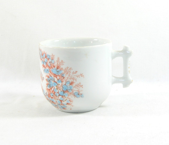 "Vintage Flowered ""Remember Me"" Mustache Mug."