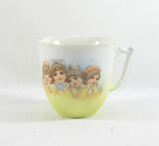 Vintage Mustache Mug with Four Little Girls on Side.