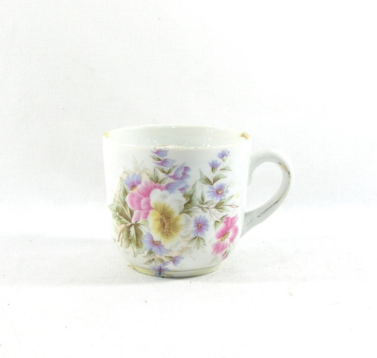 Vintage Flowered Porcelain/Ceramic Mustache Mug.