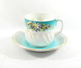 Vintage Blue Flowered Mustache Mug with Saucer. Made in Germany.