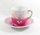 Vintage Pink Flowered Mustache Mug with Saucer.