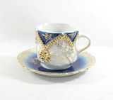 Vintage Blue and Gold Mustache Mug and Saucer.