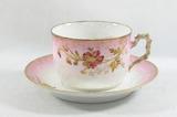 Vintage Porcelain Mustache Mug with Saucer. Marked Limoges-France on bottom