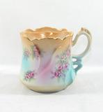 Vintage Flowered Porcelain/Ceramic Mustache Mug. Marked Brandenburg on Bott