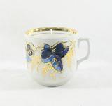 Vintage Porcelain/Ceramic Blue and Gold Cup. Marking on Bottom.