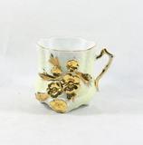 Porcelain/Ceramic Vintage Gold Flowered Mug.