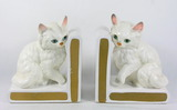 Pair of Left on Porcelain/Ceramic Cat Bookends.