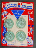 1950's Circus Parade Buttons on Card