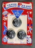 1950's Circus Parade Metal Buttons on Card