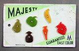 1950's Majesty Buttons on Card. Fruit/Vegatables