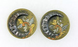Pair of Antique 1.32 inch Dia. Metal Buttons