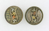 Pair of Antique 1.13 Inch Dia. Metal Buttons