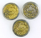 3 Antique 1.35 Inch Dia. Metal Buttons