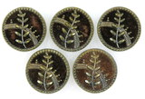 Set of 5 Antique 1.22 Inch Dia. Metal Buttons