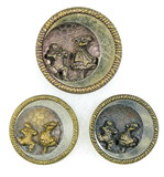 Set of 3 Antique (1) 1.85 In Dia., (2) 1.5 In Dia. Metal Buttons