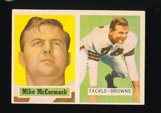 1957 Topps Football Card #3 Hall of Famer Mike McCormack Cleveland Browns