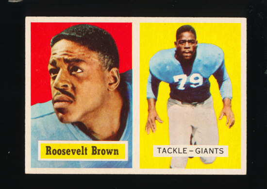 1957 Topps Football Card #11 Hall of Famer Roosevelt Brown New York Giants