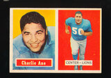 1957 Topps Football Card #56 Charlie Ane Detroit Lions (Reverse Stain)