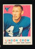 1959 Topps Football Card #156 Lindon Crow New York Giants