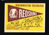 1959 Topps Football Card #168 Washington Redskins Pennant Card