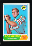 1968 Topps ROOKIE Football Card #196 Rookie Hall of Famer Bob Griese Miami