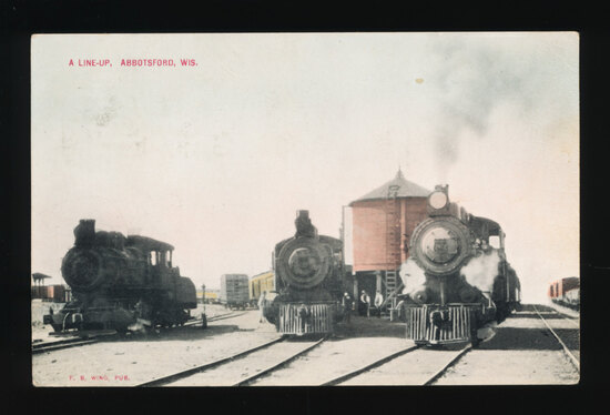 1910 ABBOTSFORD:  A LINE-UP (Rail Yard at Abbotsford, Wisconsin).  SIZE:  S