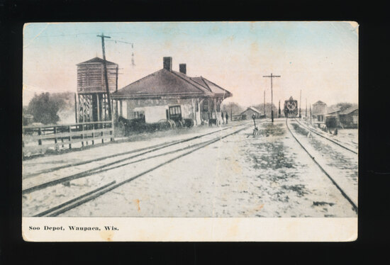 1912WAUPACA:  SOO (Railroad) Depot.  SIZE:  Standard; CONDITION:  VF with c
