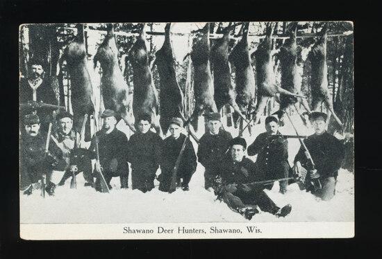 1907 SHAWANO:  Shawano Deer Hunters Gang with Kill.  SIZE:  Standard; CONDI