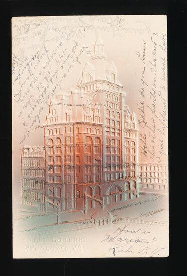 1923 MILWAUKEE:  Embossed Pabst (Beer) Building.  SIZE:  Standard; CONDITIO