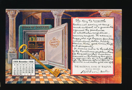 1909  WAUPUN:  THE KEY TO WEALTH.  The National Bank of Waupun.  SIZE:  Sta