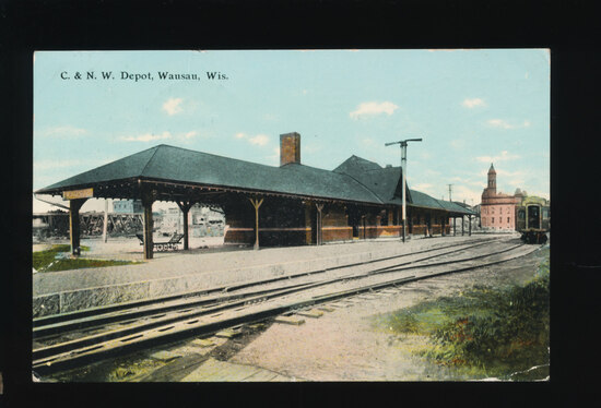 1910 WAUSAU:  The C & N.W. Depot, Wausau, Wis.  SIZE:  Standard; CONDITION:
