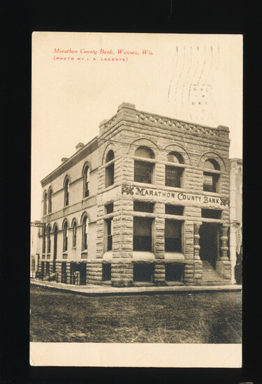 1907 WAUSAU / Marathon (City):  Marathon County Bank, Wausau, Wisconsin.  S