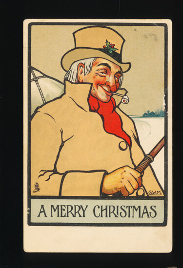 1901 A MERRY CHRISTMAS: with Well-Dressed Gent in Sleigh Seat with red chee