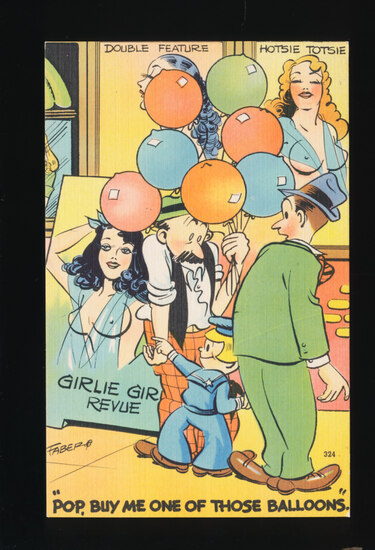 1948 Kid points to Well-Endowed Gal on Girlie-Girlie Revue Poster as embarr