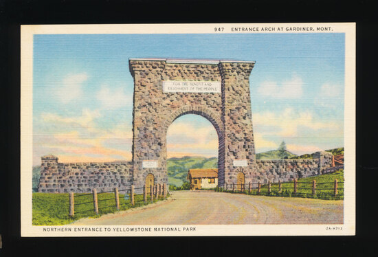 1948 Northern Entrance to Yellowstone National Park.  SIZE:  Standard; COND