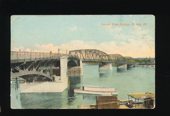 1914 Lower Free Bridge, Peoria, Ill.  SIZE:  Standard; CONDITION:  VF; VALU