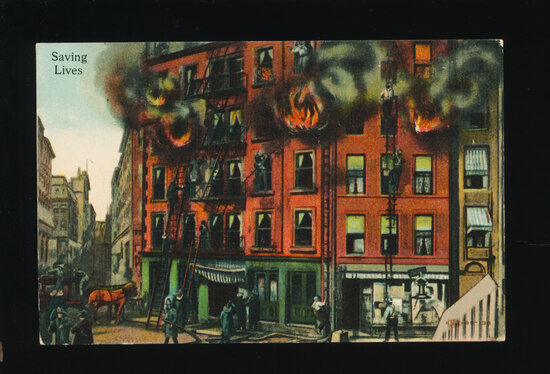 1910 Unusual Advertising Post Card!  SAVING LIVES with Firemen Fighting Bla