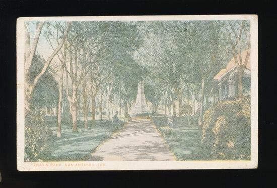 1918 Travis Park San Antonio, Tex.  Named after a famed Defender at the bat